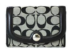 Coach Hampton Signature Compact Clutch Wallet Bag F45009 Black and White Coach. $99.99