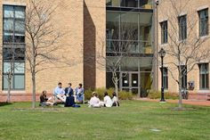 Early spring English class outdoors with Ms. Neilsen.