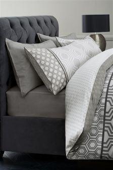 Cotton Rich Luxe Geo Stripe Black Bed Set