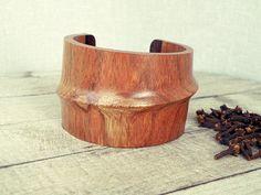 wood bracelet wooden bracelet wood cuff bracelet by CarmelaRosa