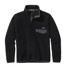 Patagonia Men\'s Lightweight Synchilla\u00AE Snap-T\u00AE Fleece Pullover - Black w\/Forge Grey BFO