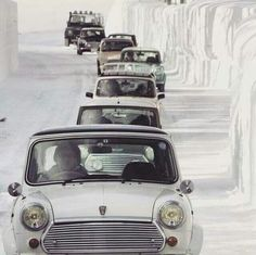 Classic British cars in convoy, Mini, Defender Mini Cooper One, Cooper Car, Mini Countryman, Mini Clubman, Mini Coopers, Classic Mini, Classic Cars, Mini Morris, Minis