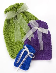 Crochet gift bags free pattern for small, medium & large. (Sill-Easy)