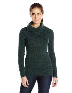 KAVU Women's Sweetie Sweater, Hunter Green, X-Small. Semi-fitted lookin' good. Hip length pullover sweater. Unique collar construction.