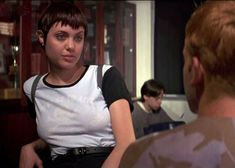 """""""Angelina Jolie in 'Hackers' costume design by Roger Burton. Hackers Angelina Jolie, Angelina Jolie Fotos, Angelina Jolie Movies, Brad And Angelina, Jolie Pitt, Star Wars, Female Pictures, Glamour, Iconic Characters"""