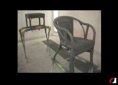 Rotan stoel en krukje grijs gespoten!   #Spuiterij #meubelspuiterij #interieurspuiterij #interieur #meubels #verven #spuiten #restylen #renoveren #Parkstad #Heuvelland #Kerkrade #Limburg #Stoelen #Banken #rotan