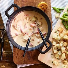 Lobster Fondue with White Wine. Our silky-smooth and deliciously decadent appetizer is made with heavy cream, lobster stock, white wine, Swiss cheese, and chunks of sweet and tender Maine lobster.