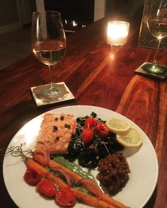 via @krazejamie: #sunday dinner butter poached salmon wilted kale salad oven roasted veggies on top of a pea purée and a glass of wine! Thanks @dbs1381 I give you 3 Michelin Stars! #luckygirl #dinner with my #hubby #cheers #getinmybelly #salmon #kale #roastedveggies #peapuree #wine thanks @midtownfarmersmarket for the #veggies and the @sacfoodcoop for the salmon! #dontwantittoend #goodnight #organic #farmtofork
