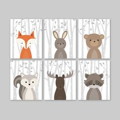 Baby Boy Nursery Art, Animal Wall Art for a woodland themed Nursery - Cute forest animals decor for kids bedroom or nursery.  This adorable wall art of six prints features cute woodland animal illustrations: Fox Rabbit Bear Squirrel Moose Raccoon on a birch tree background. The background color used is white, but is fully customizable. Just choose the Custom Color option and leave a note for me with the order if any changes are required.   ▶ ITEM DETAILS:  • set of 6 art prints - as shown or…