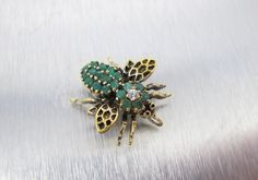 Sterling Emerald Bee Brooch Pendant Sterling by TonettesTreasures ~ETS #emeraldbeebrooch #vogueteam #etsygifts