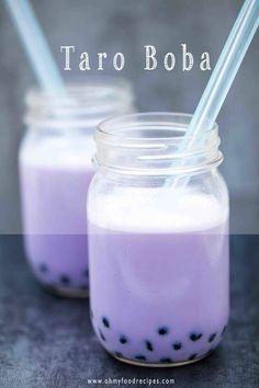 Taro boba milk tea is a popular flavor boba drink. Simple and delicious taro bubble milk tea can be done in few minutes. Taro Smoothie, Boba Smoothie, Taro Recipes, Milk Tea Recipes, Taro Bubble Tea, Bubble Milk Tea, Taro Tea Recipe, Gastronomia, Sweets