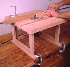 Benchtop Router Table - Homemade benchtop router table featuring a laminated hardwood top.