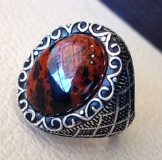 mahagony obsidian aqeeq man ring natural gem by AbuMariamJewels