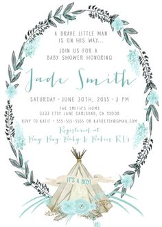 grey and blue boy baby shower invitation with teepee  kirrareynadesigns.etsy.com