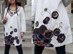 Tuniques, NEW ~ Tunique patchwork fleuri ivoire/marron est une création orginale de ZadOR sur DaWanda