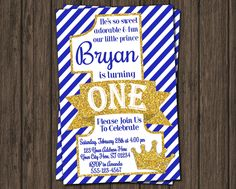 Prince Birthday Invitation - First Birthday Invitations - Royal Blue 1st Birthday Invitation by PuggyPrints on Etsy