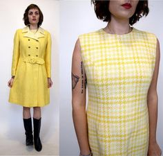 Vintage 60s Canary Yellow 2 pc wool Mini Dress  by TheRobotParade