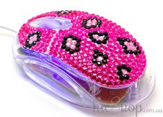 Pink Cute Crystal USB Optical Computer Mouse for any Notebook, Laptop or Desktop PC. Decorated in Rhinestone.