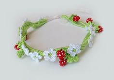 Strawberries and flowers birthday crochet accessory. Birthday girl tiara, hair accessory, fairy costume. White, green & Red.. $25.00, via Etsy.