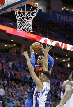 Oklahoma City's Russell Westbrook (0) shoots over Philadelphia's Timothe  Luwawu-Cabarrot (7) during the NBA basketball game between the Philadelphia  76ers ...