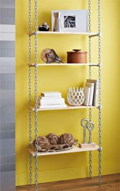 Industrial shelves add loads of cool factor to any room. Create this shelving unit with chain and basic boards for easy, affordable storage. Industrial Shelving, Industrial Office, Kitchen Industrial, White Industrial, Industrial Chic, Industrial Restaurant, Industrial Lighting, Industrial Stairs, Industrial Closet