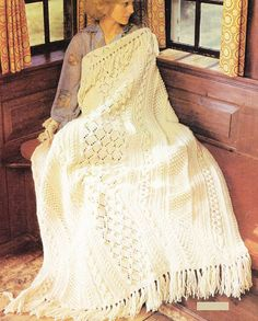 Fisherman Afghan Knitting Pattern PDF Instant Download Aran Cable Knit Blanket