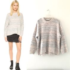 BNWT IRO pastel sweater fall 15 Brand new with tag.  Fuzzy strands bring a cozy feel to this boxy IRO sweater, crafted in faint pastel stripes for a hint of pattern. Uneven hem. Crew neckline. Roomy sleeves. Oversized fit.  Fabric: Brushed, chunky knit. 72% acrylic/10% nylon/10% wool/8% alpaca. IRO Sweaters Crew & Scoop Necks