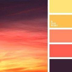 Such a gorgeous change in colours! I love how the colours in the photo and the colours in the Palette are reversed. Sunset Color Palette, Colour Pallette, Sunset Colors, Color Palate, Colour Schemes, Color Combos, Paint Combinations, Summer Colour Palette, Bright Colour Palette