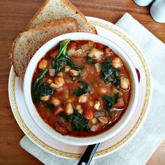 Hearty, spicy, comforting chickpea soup with Portuguese sausage and ...