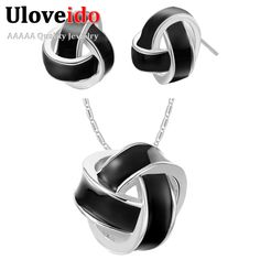Find More Jewelry Sets Information about Wholesale Fashion 925 Silver Wedding Dress Rose Gold Plated White Black Earrings and Necklace Set Bridal Jewelry Uloveido T271,High Quality set frame,China set bike Suppliers, Cheap set max from Uloveido Official Store on Aliexpress.com