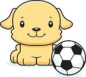 Cachorro de historieta sonriendo jugador de fútbol