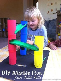 DIY Marble Run from Toilet Rolls Diy Paper Crafts diy crafts with paper towel rolls Kids Crafts, Craft Projects For Kids, Diy For Kids, Creative Crafts, Craft Ideas, Creative Skills, Art Crafts, Diy Paper, Paper Crafting