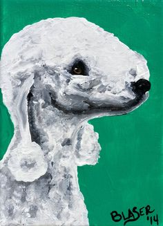 Bedlington Terrier Sticker Dog art print painting by RMBArtStudio, $0.50