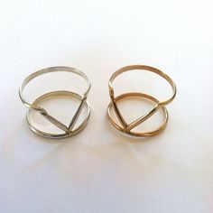 Venus Double Band Ring- Sterling or Gold Filled. $55.00, via Etsy.