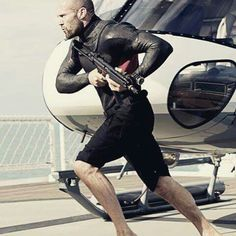 "Jason Statham in Mechanic: Resurrection. I told hubby I loved how he spent half the movie kicking ass completely barefoot. He's one of my favorite espionage actors because he honestly looks ""normal"". His features are sorta nondescript and he's balding. Makes him easy to underestimate. Then you get a glimpse of that hard look in his eye or that impeccably chiseled body and you're like ""just kidding, dude is lethal"". Love it. :)"