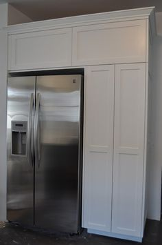 built-ins around the fridge..this would be reversed......pantry!! YES!