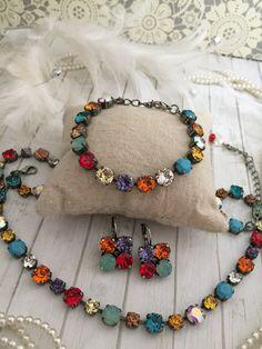MOTLEY. Mixed Color 8mm Genuine Swarovski Crystal Bracelet. Designer Inspired. Multi Colored, Fun Accessory