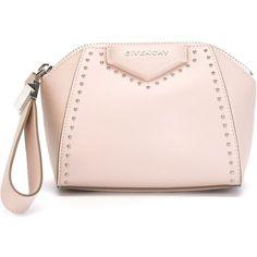 Givenchy Antigona Clutch featuring polyvore, fashion, bags, handbags, clutches, studded handbags, pink purse, givenchy, givenchy handbags and pink studded handbag