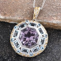 Bedazzled SUGAR by Gay Isber Rose De France Amethyst (Oct 13.10 Ct), Sky Blue Topaz Pendant With Chain (20 in) in 14K YG and Platinum Overlay Sterling Silver Nickel Free TGW 19.50 Cts.