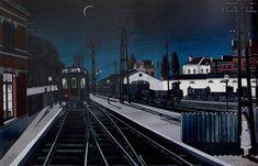 Soledad (1956) Tren por la noche (1957) Estación en el bosque (1960), de Paul Delvaux .