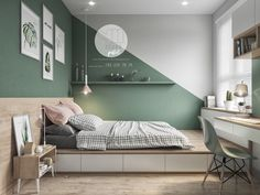 Colorful interior with connection: green, coral, blue & yellow decor . - Colorful interior with connection: green, coral, blue & yellow decor - Green Bedroom Design, Bedroom Wall Designs, Bedroom Green, Green Bedrooms, Bedroom Yellow, Yellow Walls, Mint Bedroom Walls, Best Colour For Bedroom, Bedroom Paint Design