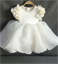Floral Dress Floral Dress-Made To Order – High Quality Beautiful Beaded Applique Round Neckline Floral Cap Sleeve Tea Length Big Bow Back Baby Infant Toddler Little & Big Girl … Dresses Kids Girl, Girls Party Dress, Birthday Dresses, Kids Outfits, Dress Outfits, Newborn Girl Dresses, Infant Dresses, Newborn Bows, Newborn Outfits