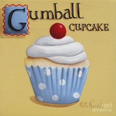 Image detail for -Gumball Cupcake Painting by Catherine Holman - Gumball Cupcake Fine ...