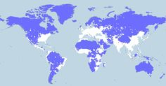 Map of world population density. Just 5% of the world's population lives in the entire area shaded in blue. Another 5% lives in the area shaded in red. In total, the blue area covers 72% of the Earth's land.  The red area covers just 0.1%.