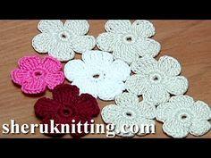 Crochet Simple Five-Petal Flat Flower Tutorial 28 Part 1 of 2