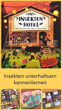 Noch nie wurde uns das Leben der Insekten auf so unterhaltsame Weise näher gebracht! Dieses Insektenhotel ist der Hit! Die kurzen Sachtexte bringen Wissen unterhaltsam ans Kind und die comicähnlichen Illustrationen machen einfach Spaß! Ein Bilderbuch, das ich dir auf meinem Kinderbuchblog Familienbücherei näher vorstelle. #Kinderbuch #Kinderbücher #Bilderbuch #Empfehlung #Bilderbücher #Insekten #Insektenhotel #Bienen Das Hotel, Montessori, Comic Books, Comics, Cover, Cats, Pet Dogs, Insect Hotel, Reading Books