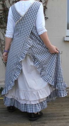 Long Pinafore Style Check Apron Cross Over by CarolynCreatesIt