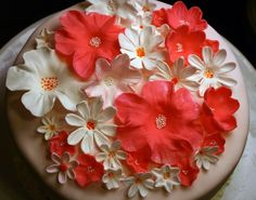 How to Make a Fondant Cake with Gum Paste Flowers by Anna #Baking