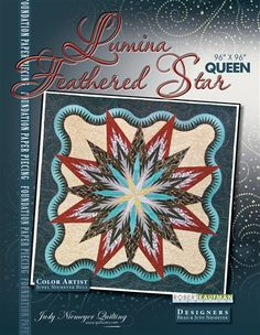 "Lumina Feathered Star - Available from Quiltworx.com - A Judy Niemeyer Quilting Company. Shop for more patterns and quilting supplies on store.quiltworx.com. This pattern makes a 96"" x 96"" quilt, the pattern cost is $75.00."