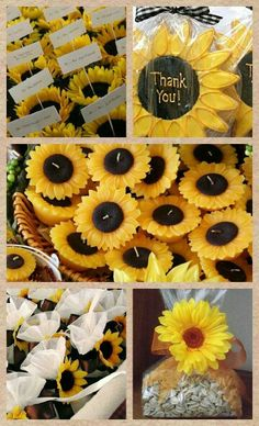 Sunflower wedding favor ideas #candle #plant #cookies #string #bag #seed